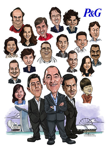 digital group caricatures for P&G