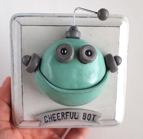 Cheerful Bot 3D Robot Wall Art by HerArtSheLoves