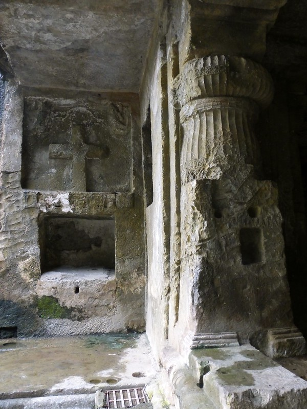 Mandapeshwar Caves - the cross carved by Portuguese invaders who converted the cave into a chapel