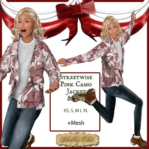 Shabby Chic Streetwise Pink Camo Jacket by Shabby Chics