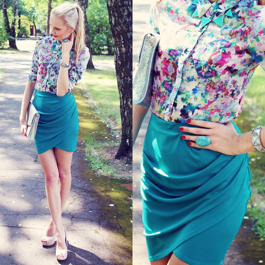 top seven outfits, top 7 outfits, fashion blog, fashion blogger, call me maddie, tulip skirt, persunmall floral print blouse, turquoise ring, glitter clutch, nude color heels