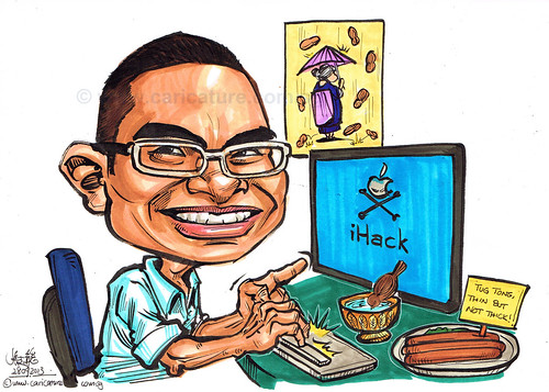 iHack caricature at desk
