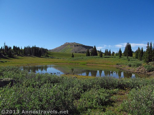 This is a tarn, not Wall Lake, but you get the idea of the views, Flat Tops Wilderness, Colorado