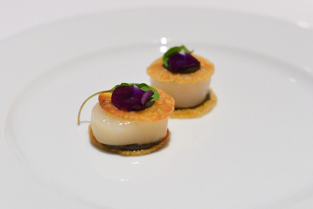 Scallop and Potato Sandwich, Black Truffle, Chervil