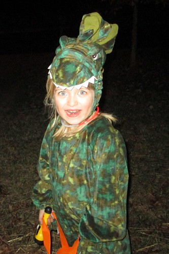 Catie the Dinosaur trick-or-treating