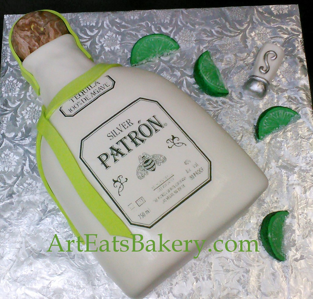 Patron Bottle Modern 3d Birthday Cake Design With Fondant Limes And