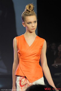 VCAD ONwards Fashion Show 2013 – Orange Top and White Skirt by Huong Le