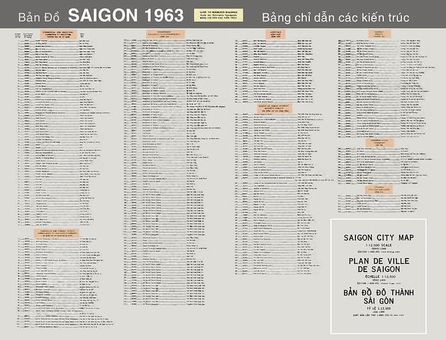 Bản Đồ SAIGON 1963 - Index to Numbered Buildings - Bảng chỉ dẫn các kiến trúc