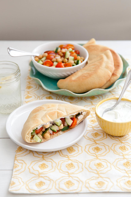 Let's Do Lunch: Veggie Chickpea Pitas with Yogurt Dill Sauce