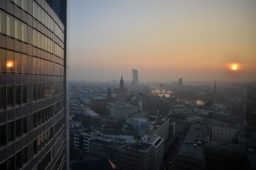 city morning skyline skyscraper sunrise view frankfurt frankfurtammain