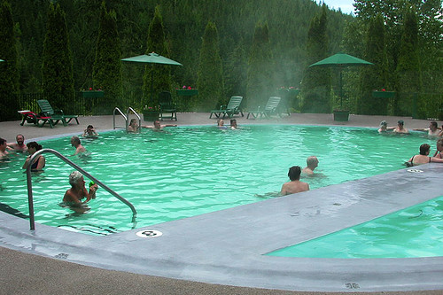 Nakusp Hot Springs, Nakusp, Upper Arrow Lake, West Kootenays, Kootenay Rockies, British Columbia, Canada