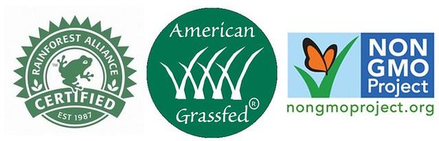 (左至右)雨林咖啡標章、美國草飼牛標章、無基改標章