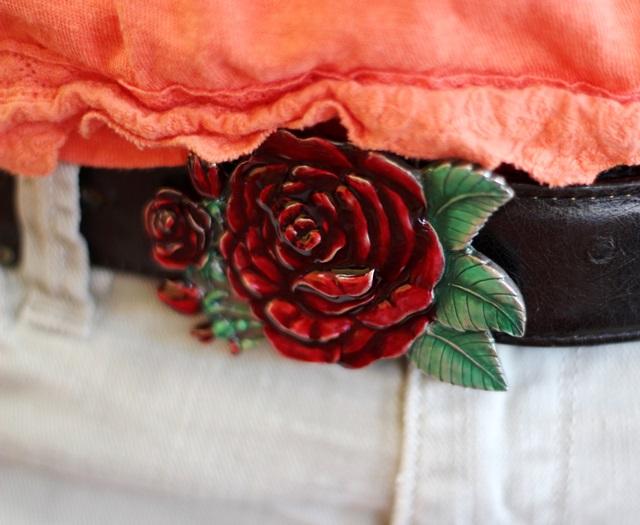 enamel rose belt buckle