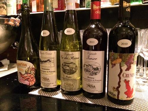 リクーリア州 プンタクレーナ社のワインたち。@オステリア・トット