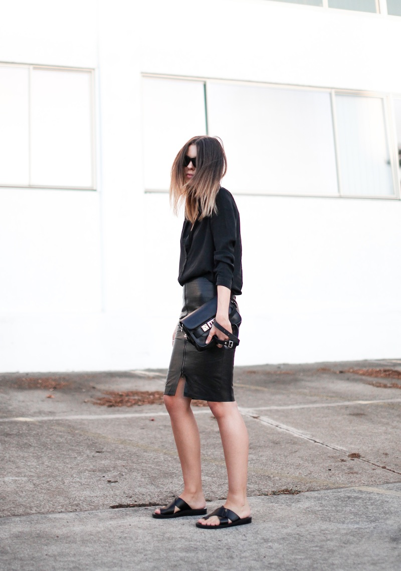 modern legacy fashion personal style blog australia leather pencil skirt KAHLO Proenza Schouler PS11 mini vs classic silk shirt slide sandals street style all black everything (12 of 13)