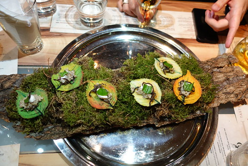 "Parmesan Leaves served on a tree bark with a ""moss"" carpet during Beam Global's Whisky tasting at The Vintner on Duxton."