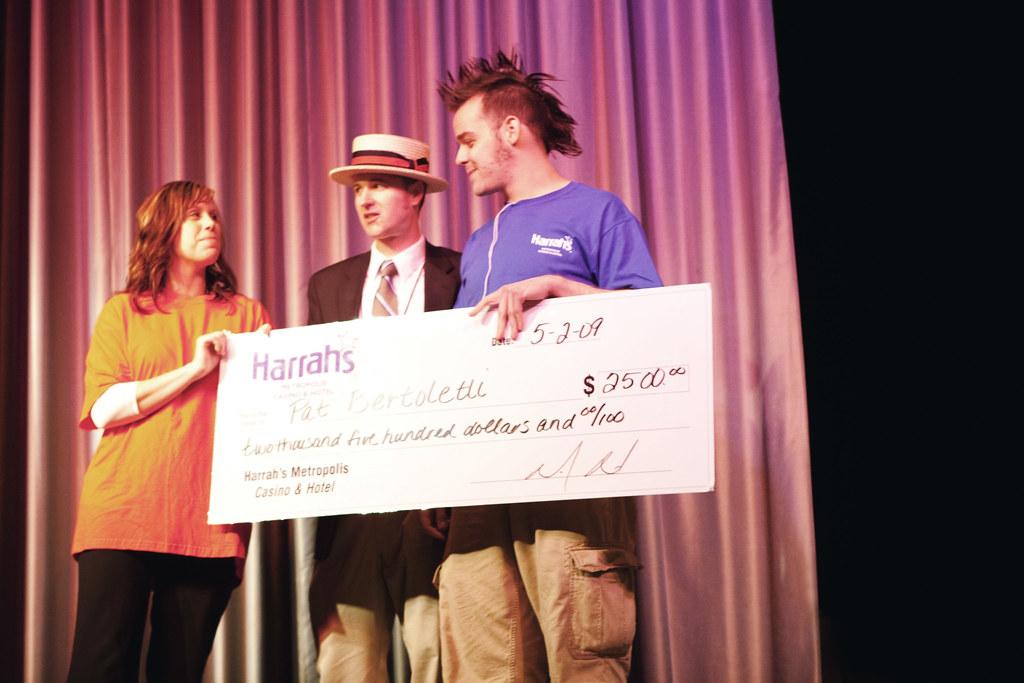 Pat Bertoletti wins the Ice Cream Eating Contest at Harrah's Casino in Metropolis, Illinois.