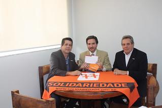 Delegado Roberto Monteiro e Arthur Santos Neto, novos filiados e apoiadores do Solidariedade, em reunião com presidências nacional e estadual do partido