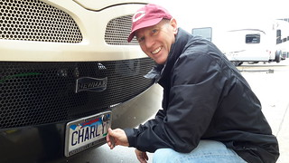 Fred installing our new SD plates on Charley
