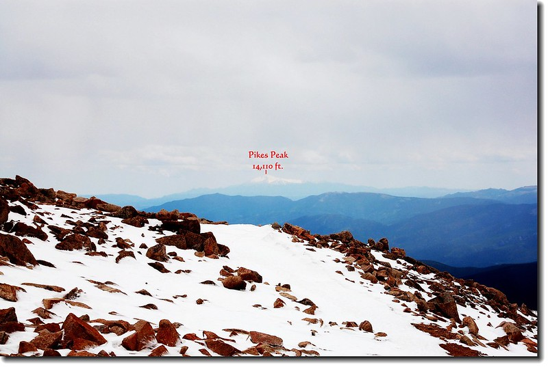 Pikes Peak as seen from Mount Evans