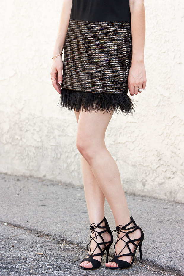 Tweed and Feather Dress, Lace Up Heels, Greylin Dress, Party Dress