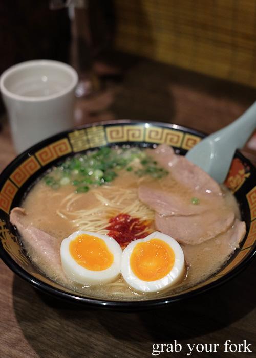 Tonkotsu ramen with eggs at Ichiran, Hakata, Fukuoka, Japan