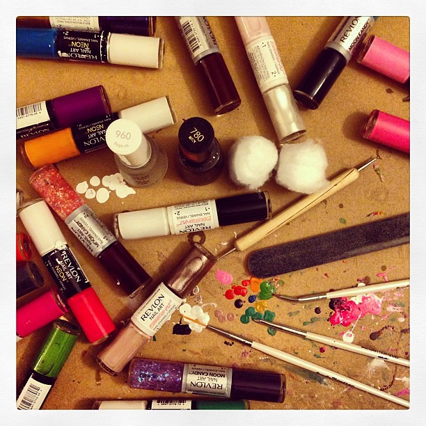 The aftermath of a weekend full of nail art! More on this soon! #revlon #r29nailartnation #nailart #nailpolish #nailpolishobsessed #beauty #colorful #instagood