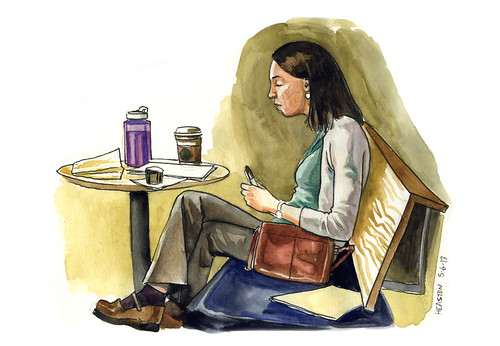 woman at starbucks