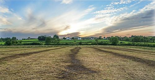 ireland sunset landscape farmland hay limerick slurry