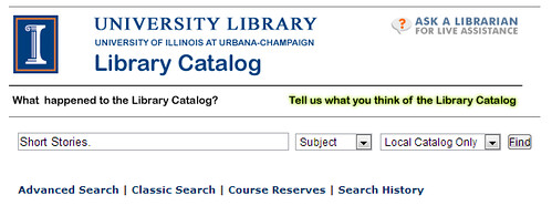 Enter Short Stories into the catalog search bar, and select 'Subject' from the drop-down menu next to it.