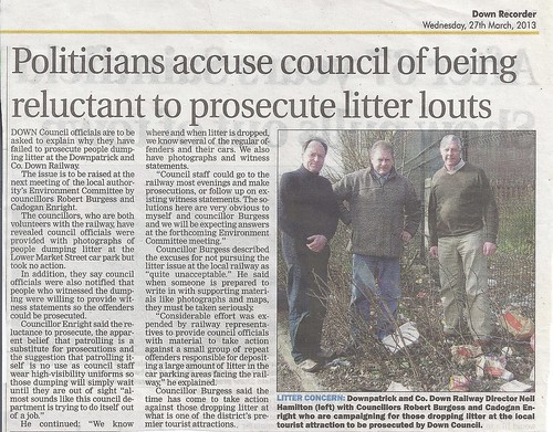 27th March 2013 Councillors Demanding Litter Lout prosecuted