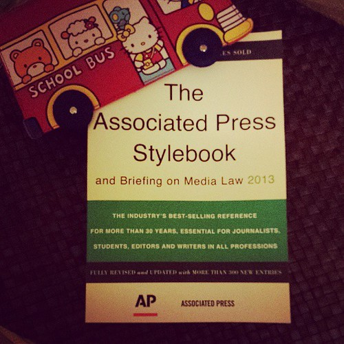 2013 AP Stylebook arrived! Although I frequently violate the rules, I just love reading it.