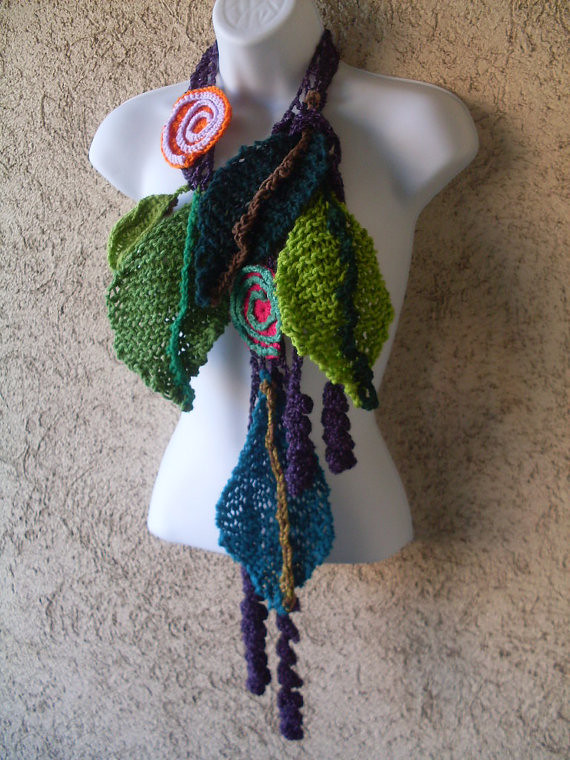 Scarf Necklace Spiral Purple
