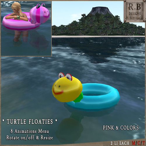 RnB Turtle Floaties - 8 Animations & Rotation - Pink & Colors (np)