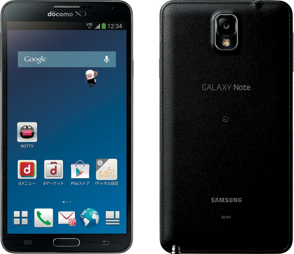 GALAXY Note 3 SC-01F 実物大の製品画像