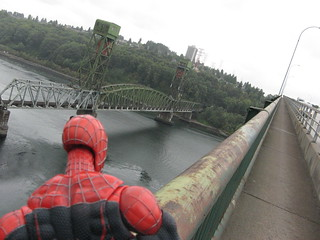 Spider-Man checks out the view on the Second Narrows Bridge