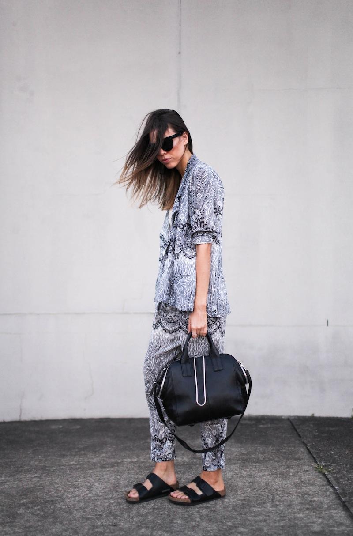 modern legacy fashion style blog Australia Zimmermann print blazer pants street style macthing suit grey-4