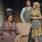 The Mousetrap - Pictured: Kathleen M. Brady (Mrs. Boyles), Josh Robinson (Giles Ralston), Devon James (Mollie Ralston) Photo P. Switzer Photography 2014