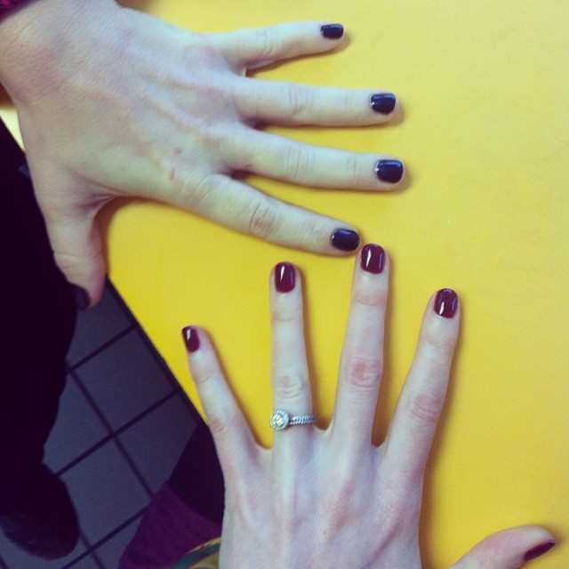 Corinne and I and our fresh gel manicures yesterday. I got berry, she got purple. Then we feasted on cheeseburgers. It was a good day!