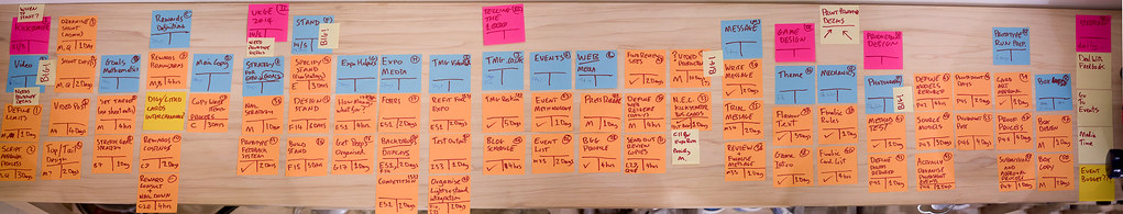 Photo - many post-it notes with to do tasks on them.