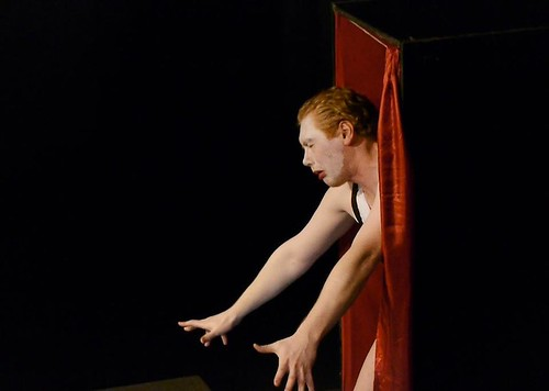 Calum MacAskill gets out of his box while performing Dr Caligari in 1933: Eine Nacht Im Kabarett. Photo © Summerhall TV