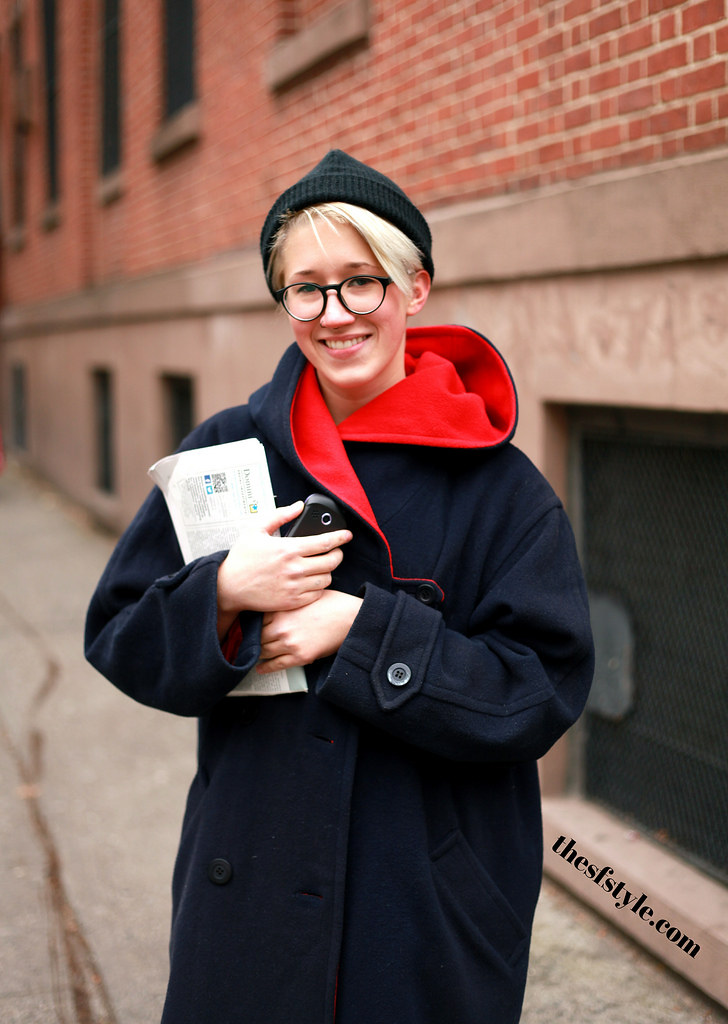 thrifted coat, new york streetstyle fashion blog,