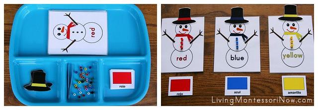 Spanish Snowman Color Activity