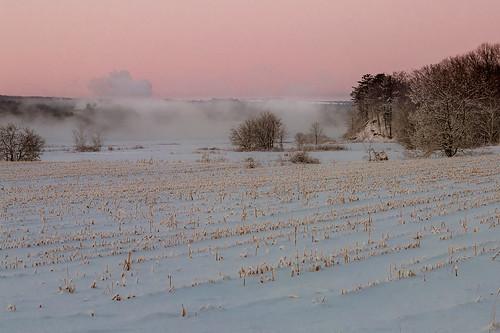 morning winter mist snow field river novascotia portwilliams cornwallisriver fujix10