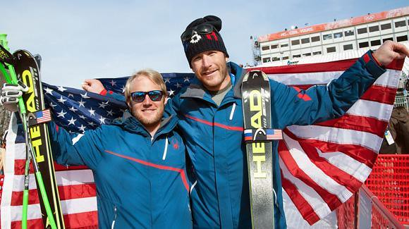 Andrew Weibrech with Bode Miller