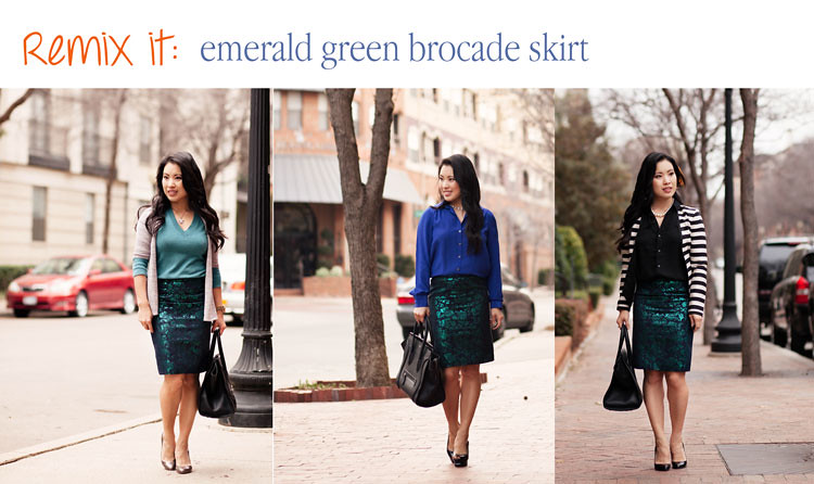 cute & little blog | styling remix outfit inspiration ideas | j.crew emerald green floral brocade pencil skirt outfit
