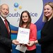 Justice Minister David Ford at the Youth Justice Agency awards pictured (L-R) Alexandra Johnston (Highly Commended) and Paula Jack (YJA)