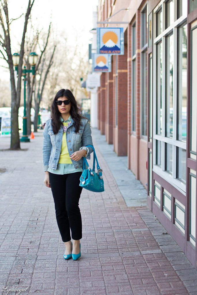 yellow sweater, mint blouse, denim jacket.jpg