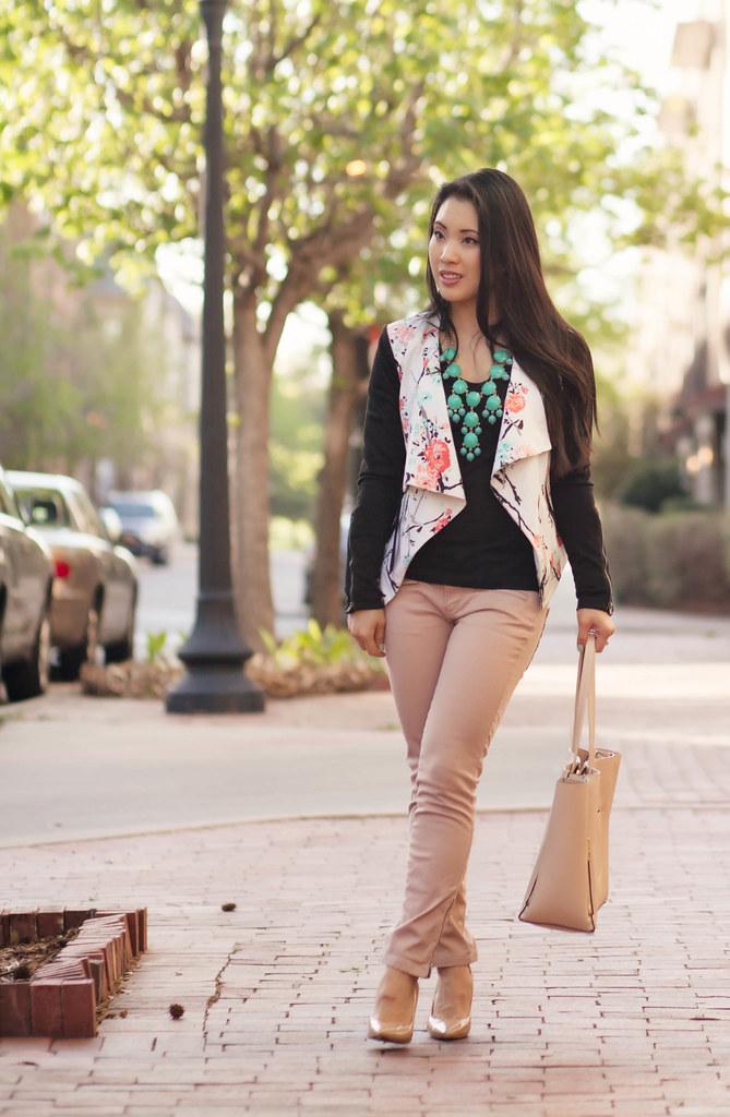 cute & little blog   petite fashion   floral moto jacket, mint bubble necklace, pink moto pants outfit