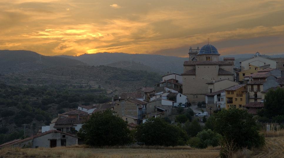 Puesta de sol en Zorita del Maestrazgo.